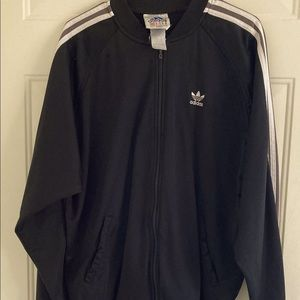 Small Vintage 90's Adidas Jacket. Black and White with Gray in the Stripes